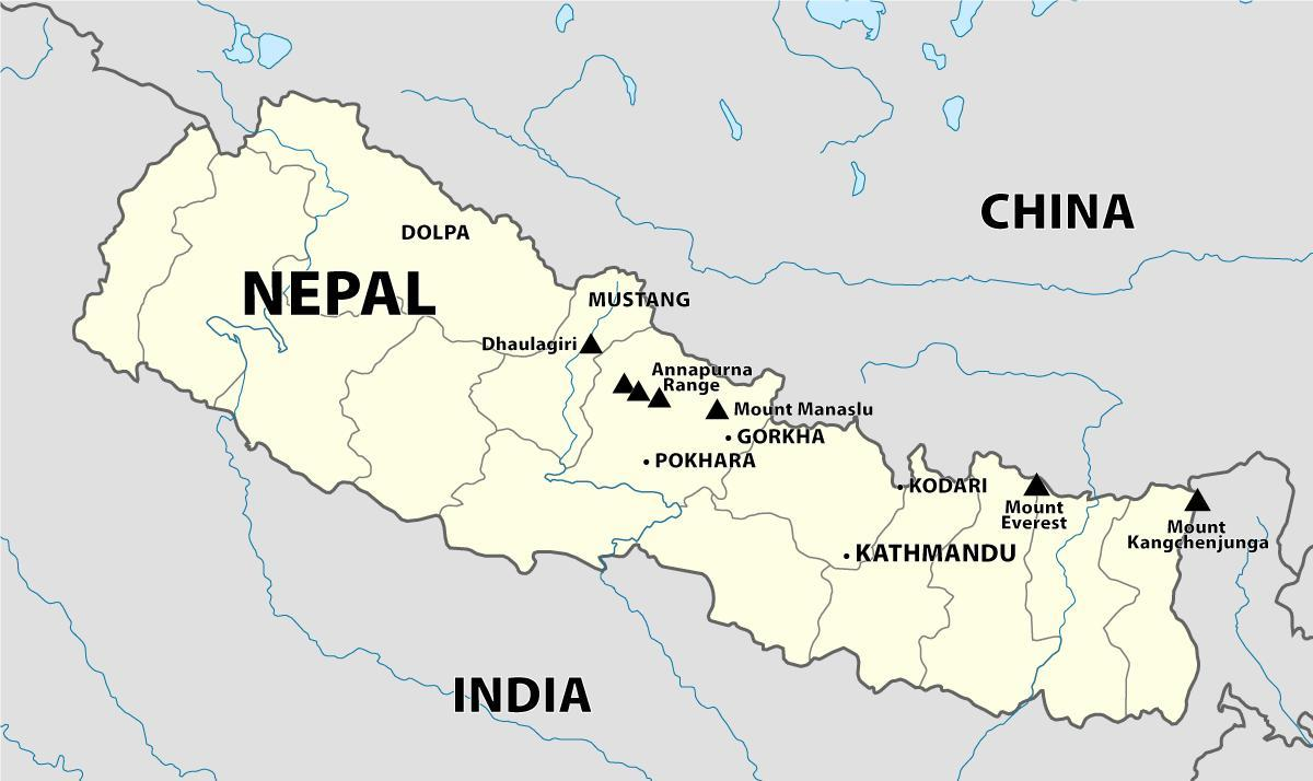 Indie Nepal granicy mapy